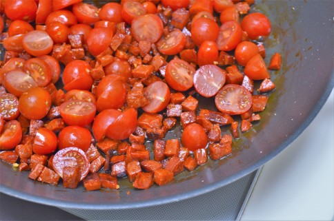 chorizo, tomato and creme fraiche pasta